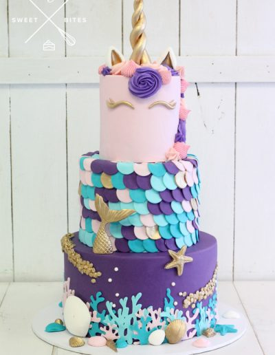 mermaid unicorn sea cake 3 tier