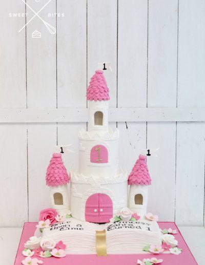 1st birthday princess pink palace fairy tale cake