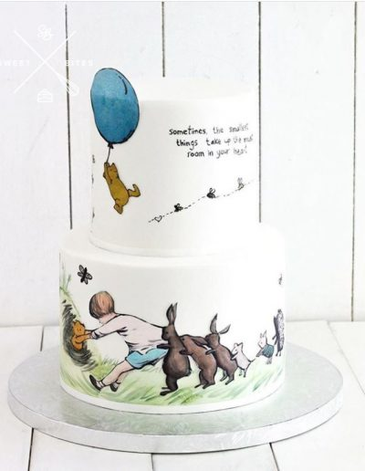 winnie the pooh christopher robin 100 acre wood painted cake