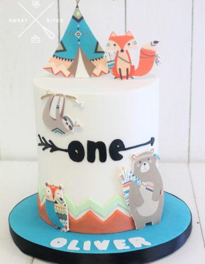 wild one boho teepee 1st birthday cake