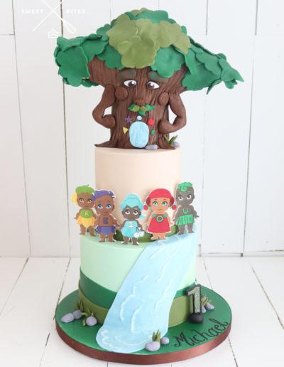 takaro tribe cake 1st birthday 2 tier