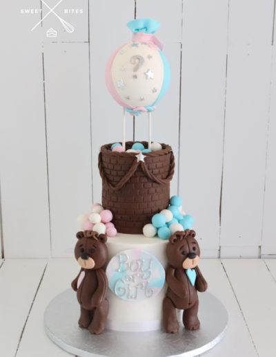 gender reveal teddy bears hot air balloon cake