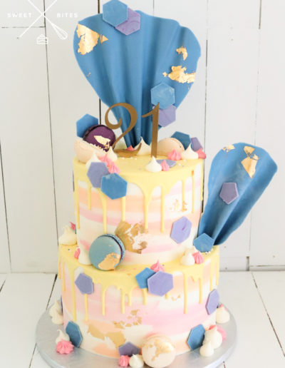 sunset sea 21st birthday cake