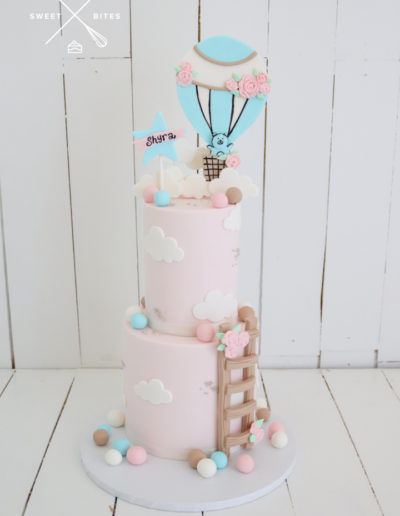 pink 2 tier ladder baby hot air balloon teddy bear