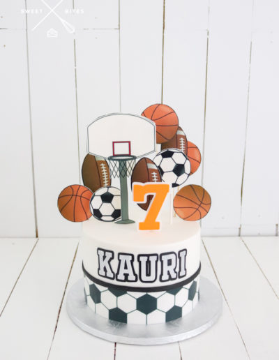 sports cake soccer basketball football