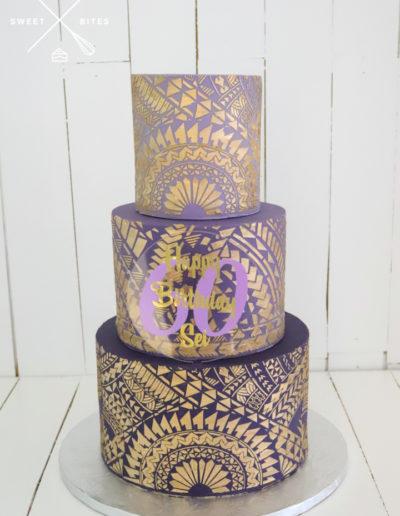 3 tier purple ombre gold stencil cake