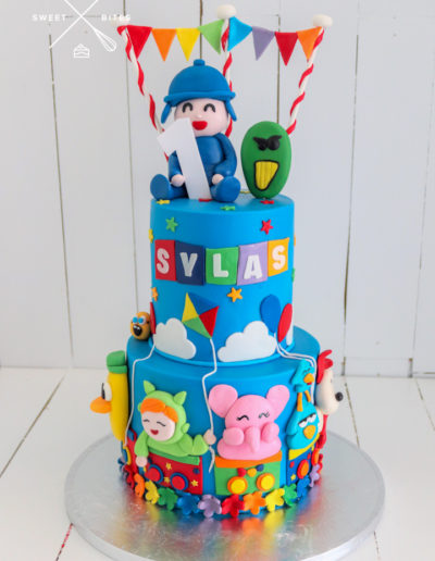 pocoyo cake colourful rainbow 1st birthday