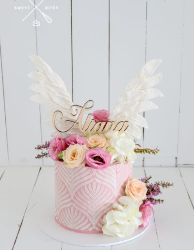 stencil angle cake flowers pink