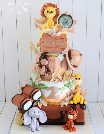 safari explorer cake suitcase animals