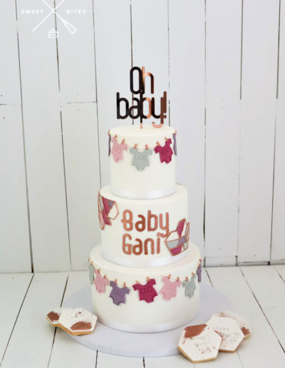 oh baby shower cake 3 tier rose gold