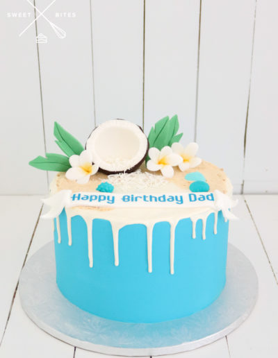 tropical cake blue coconut frangipani