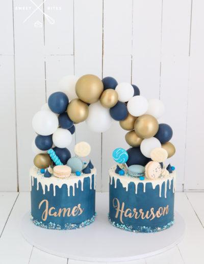 balloon garland cake drip twins boy