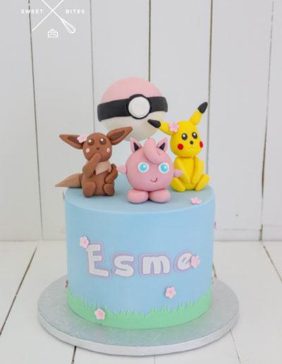 pokemon cake eevee pikachu jigglypuff pokeball pink