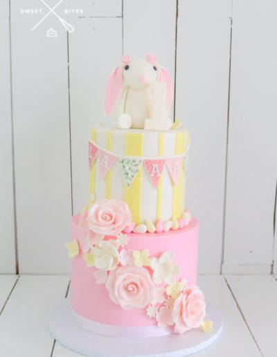 floppy ear bunny rabbit cake pink 1st birthday