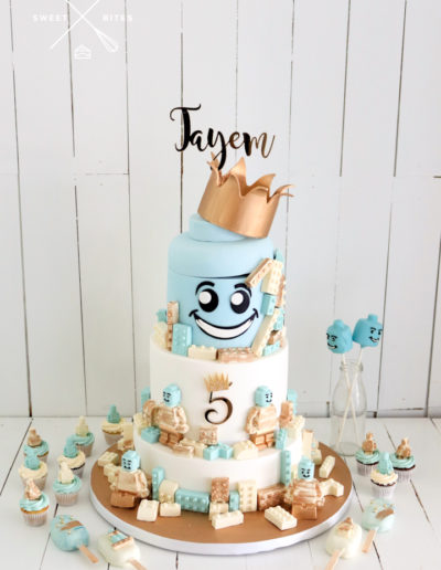 5th birtthday chic lego cake head crown