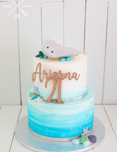 sea theme sting ray cute watercolour cake 21st