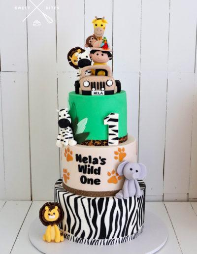 wile one safari cake 3 tier animals zebra print jeep
