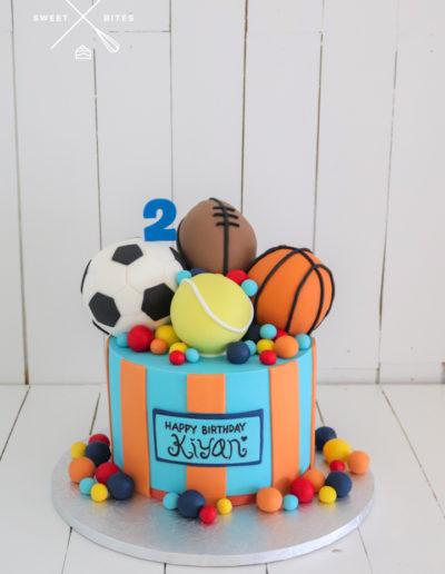 sports cake balls tennis basketball soccer football 2nd birthday