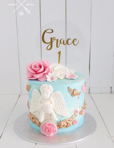 christening cake 1st birthday baptism cherub