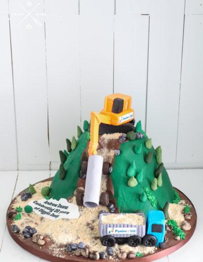digger hill truck landslide construction cake mountain