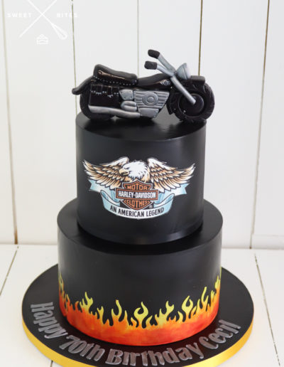 harley davidson 2 tier motorcycle bike cake