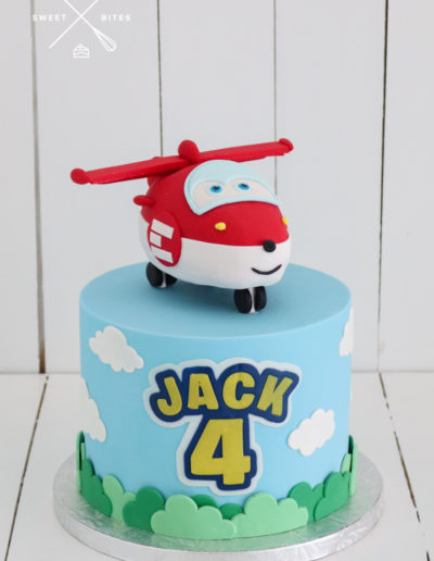 super wings red helicopter show tv cartoon cake