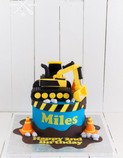 construction digger cake site 2nd birthday