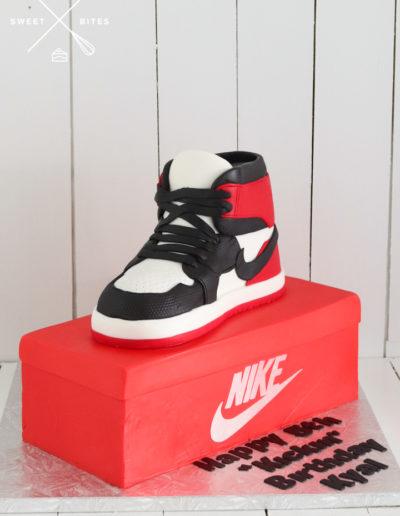 nike air force shoe cake shoebox red black white logo