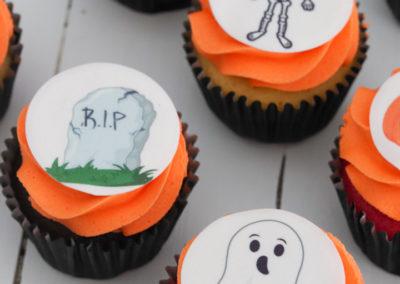 halloween orange cupcakes ghost skeleton grave stone spider