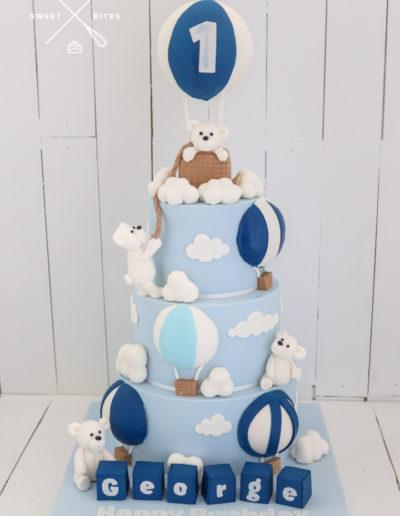 polar bear hot air balloon cake 1st birthday