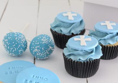 matching custom light blue cupcake cake pop cookie biscuit baptism christening