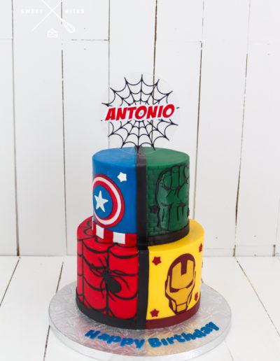 avengers marvel 2 tier cake spiderman iron man hulk captain america