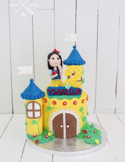 princess snow white castle tower cake turrets